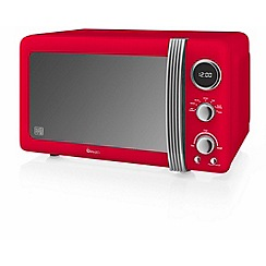 Swan - Red SM22030RN retro digital 20L microwave