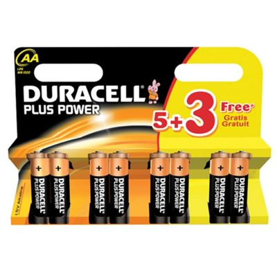 Duracell pack of eight Plus Power AA batteries