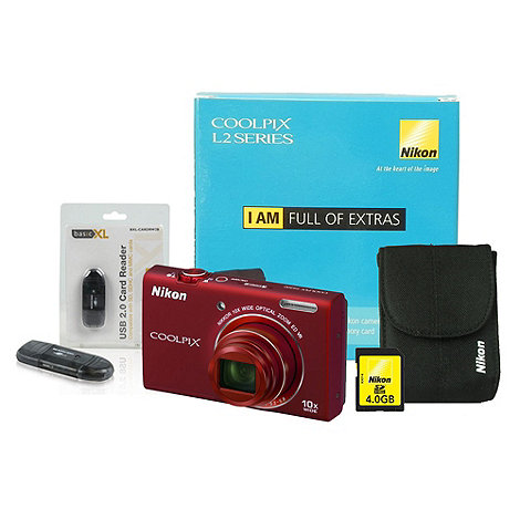 Nikon - S6200 16 megapixels red +Coolpix+ digital camera kit