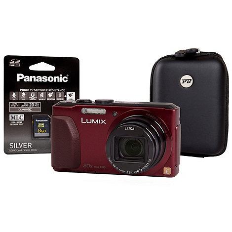 Panasonic - Lumix red DMC-TZ40 camera, 18MP, 20x optical zoom, inc 8GB SDHC and case