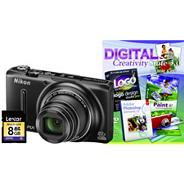 Nikon black COOLPIX 'S9500' digital camera kit with 18.1 megapixels and 22 x optical zoom