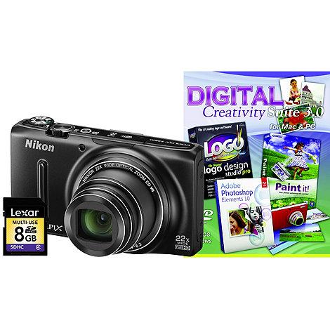 Nikon - Black COOLPIX +S9500+ digital camera kit with 18.1 megapixels and 22 x optical zoom