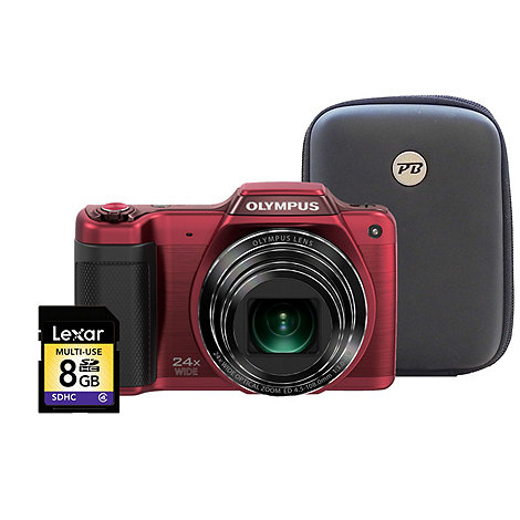 Olympus - Red +SZ-15+ 16.5MP 24x optical zoom digital bridge camera kit