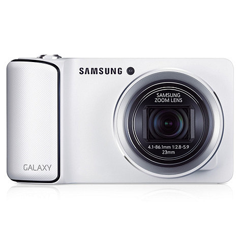 Samsung - White Galaxy GC-110 compact camera, 16MP, WiFi, 4.8 inch touch LCD, 1080p, 23mm wide lens