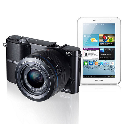 Samsung - Black NX1100 20-55mm lens, 20.3MP, WiFi, 3.0 LCD compact camera and Galaxy 7 inch 8GB TABLET