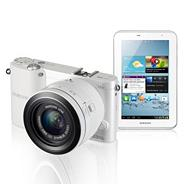 Samsung white NX1100 20-55mm lens, 20.3MP, WiFi, 3.0 LCD compact camera and Galaxy 7 inch 8GB TABLET