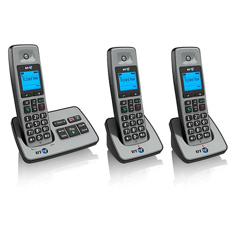 BT - Black 2500 triple DECT telephone with answering machine