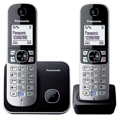 Panasonic - Grey Twin Handset Telephone KX-TG6812