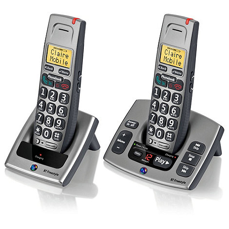 BT - Black Freestyle 750 twin dect telephone