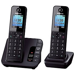 Panasonic - KX-TGH222EB twin black dect telephone with colour LCD