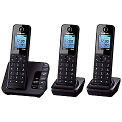 Panasonic - KX-TGH223EB triple black dect telephone with colour LCD
