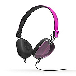 Skullcandy - Navigator pink and black on-ear headphones with microphone