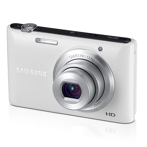 Samsung - ST72 Camera White 16.2MP 5x optical zoom, 3 inch LCD, 720pHD, 25mm Wide lens, MicroSD/SDHC