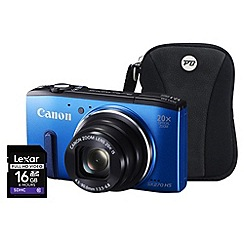Canon - Powershot SX270 HS Blue Camera Kit, 12.1MP, 20x optical zoom, 3 inch LCD, 1080p