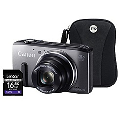 Canon - Powershot SX270 HS Grey Camera Kit, 12.1MP, 20x optical zoom, 3 inch LCD, 1080p