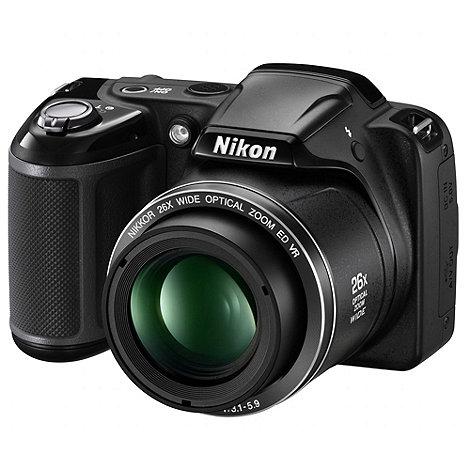 Nikon - Coolpix L320 Camera Black 16.1MP 26x optical zoom, 3 inch LCD, 720p HD, 22.5mm Wide Lens