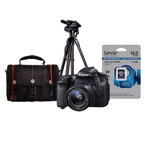 Canon - EOS70D SLR camera with EF-S 18-55mm lens, 16GB SDHC, tripod and bag