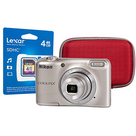 Nikon - Coolpix L27, 16.1MP 5x optical zoom red camera with 4GB SD card and case