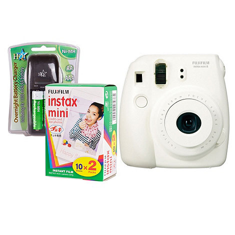 Fuji Film - Fuji Instax Mini 8 White Instant Camera Kit inc 2x 10 Pack Film, Charger, 4x AA