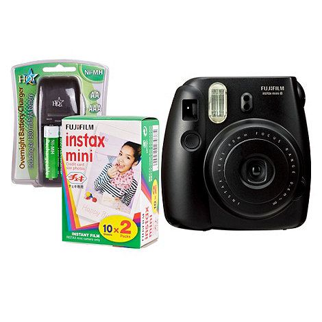 Fuji Film - Fuji Instax Mini 8 Black Instant Camera Kit inc 2x 10 Pack Film, Charger & 4x AA