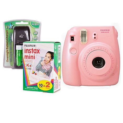 Fuji Film - Fuji Instax Mini 8 Pink Instant Camera Kit inc 2x 10 Pack Film, Charger & 4x AA