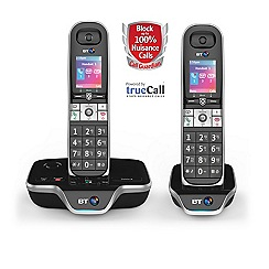 BT - Black twin nuisance call blocker cordless phone 8600