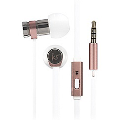 KitSound - Rose gold nova in-ear headphones with stylish leather pouch