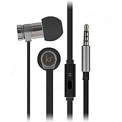 KitSound - Black nova in-ear headphones with stylish leather pouch