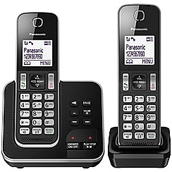 Panasonic - Digital cordless telephone twin answerphone KX-TGD322EB