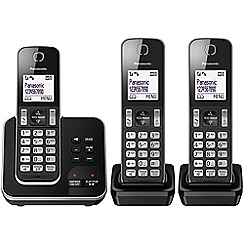 Panasonic - Digital cordless telephone triple answerphone KX-TGD323EB