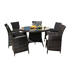 Debenhams - Brown 'LA' round table and 6 chairs