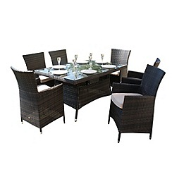 Debenhams - Brown 'LA' rectangular table and 6 chairs