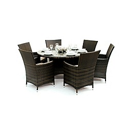 Debenhams - Brown 'LA' oval table and 6 chairs