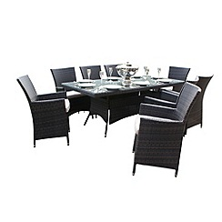 Debenhams - Brown 'LA' rectangular table and 8 chairs