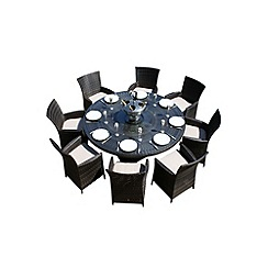 Debenhams - Brown 'LA' round table and 8 chairs