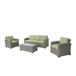 Debenhams - Brown 'Milan' 3-seater sofa, coffee table and 2 armchairs