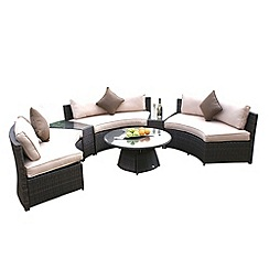 Debenhams - Brown 'LA' half moon sofa set