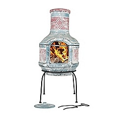 La Hacienda - Medium clay Aztec geo chimenea with grill