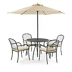 Debenhams - Steel 'Burley' round garden table and 4 chairs with parasol