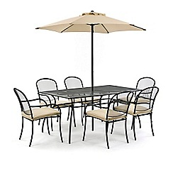Debenhams - Steel 'Burley' square table and 6 chairs with parasol
