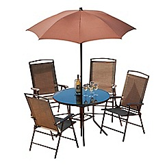 Debenhams - Brown 'Havana' round garden table and 4 chairs