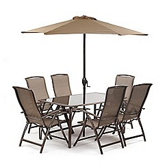 Debenhams - Brown 'Havana' rectangular garden table and 6 chairs