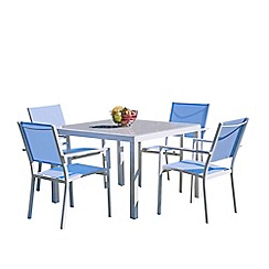 Debenhams - Blue 'Torino' square garden table and 4 chairs