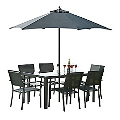 Debenhams - Black 'Torino' rectangular garden table and 6 chairs