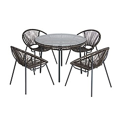 Debenhams - Grey 'Classico' round garden table and 4 chairs