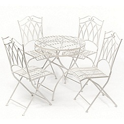 Debenhams - White 'Gloucester' table and 4 folding chairs