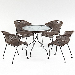 Debenhams - Brown rattan-effect 'Washington' round garden table and 4 chairs