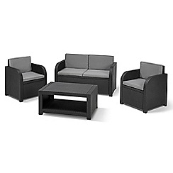 Debenhams - Grey rattan-effect 'Ferrara' sofa, table and 2 chairs