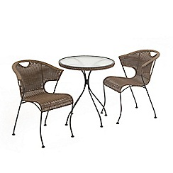 Debenhams - Brown rattan-effect 'Washington' garden bistro set
