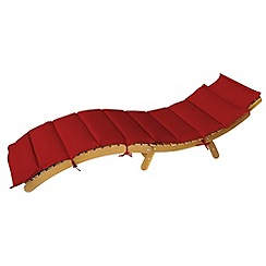 Debenhams - Acacia wood 'Borabora' reclining sunlounger with red cushions